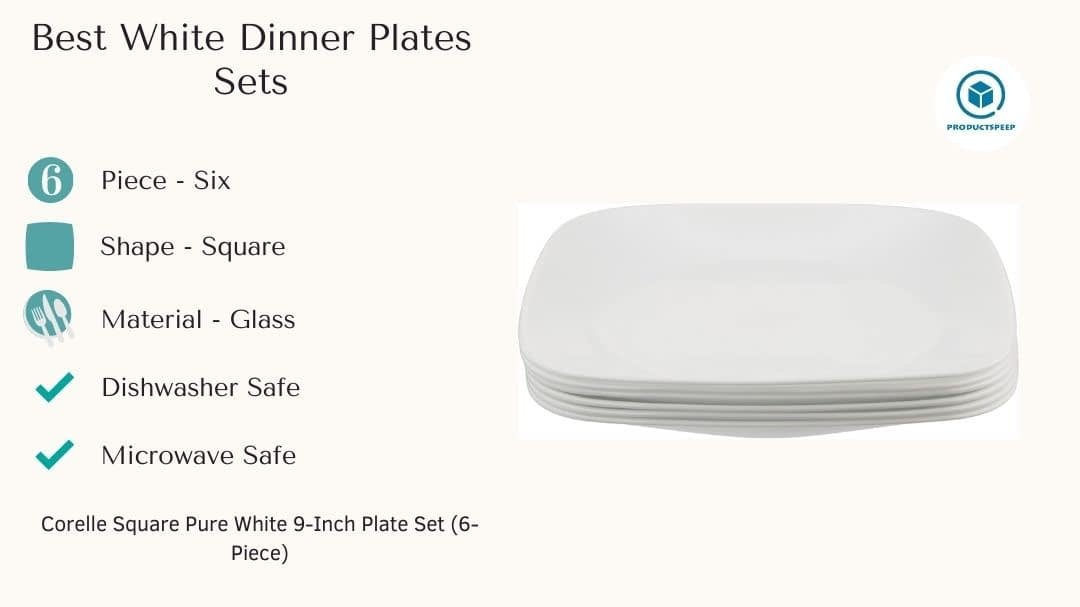 Best white dinner plates sets - Corelle Square Pure White 9-Inch Plate Set
