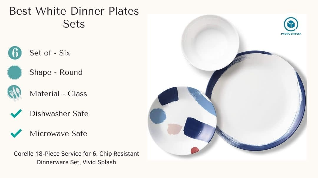 Best white dinnerware plate sets - Corelle Chip Resistant Dinner Plates set