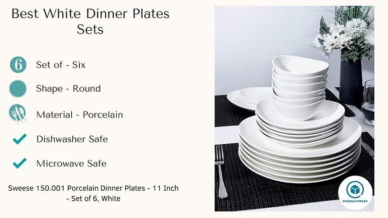 Best White dinner plate sets - Sweese Porcelain Dinner Plates set