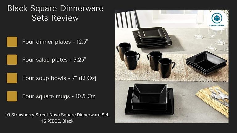 nova black square dinner set