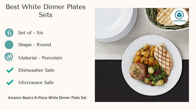 Best white dinner plates sets - AmazonBasics 6-Piece White Dinner Plate Set