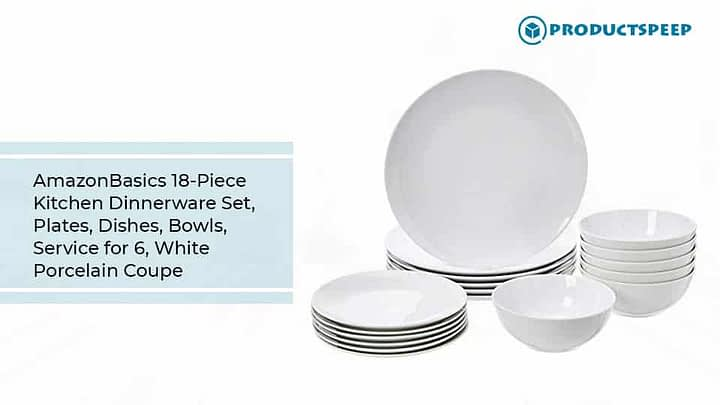 AmazonBasics 18-Piece Kitchen Dinnerware Set, white porcelain