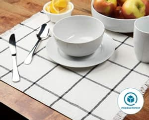 Sticky Toffee Yarn-Dyed Farmhouse Plaid Placemat for dining table Set