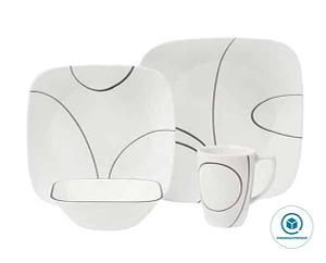 CORELLE 1092887 Simple Lines 16-Piece White Square Dinnerware Set, Service for 4, Black/White