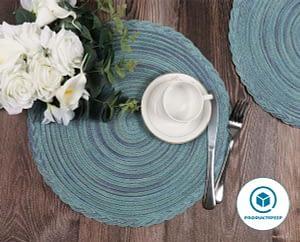 U'Artlines 15 Inch Round Cotton Placemat set for 4