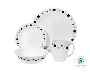 Corelle Livingware 16-Piece White Dinnerware Set, Geometric, Service for 4