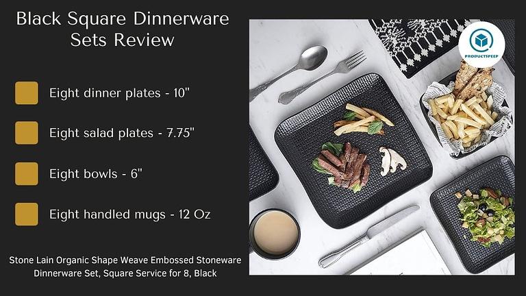 black dinner plates set stone lain