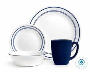 Corelle Livingware 16-Piece Dinnerware Set Service for 4 (1092894), Classic Cafe Blue,