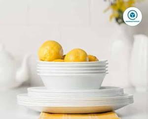 Corelle white dinnerware sets – Corelle Service for six, Chip Resistant, Winter Frost White Dinnerware Set, 18-Piece