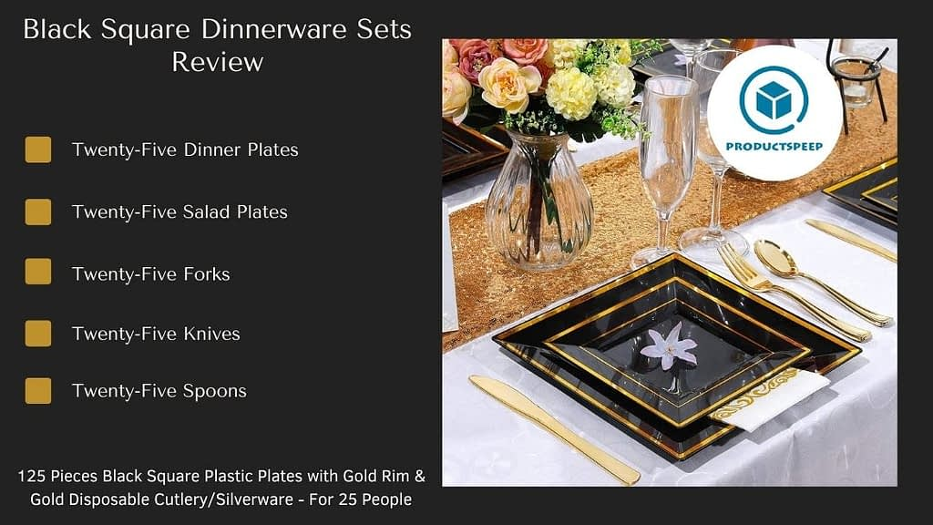 gold and black dinner plates