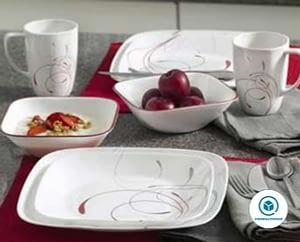 Corelle Square 16-Piece white Dinnerware Set, Splendor, Service for 4