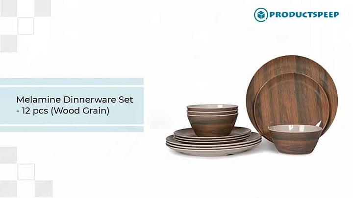 Melamine Dinnerware Set with wood grain