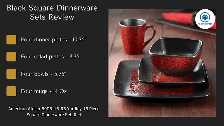 red and black square dinnerware Sets
