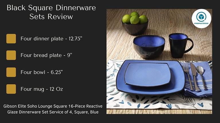 blue and black square dinnerware set