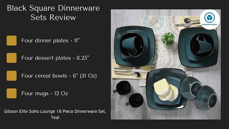 teal and black square dinnerware set