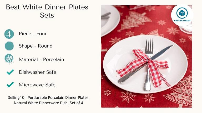 Best White dinner plates sets - Delling 10 inch Perdurable Round Porcelain Dinner Plates