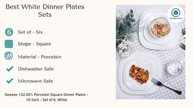 Best white dinnerware plates sets - Sweese Porcelain Square Dinner Plates