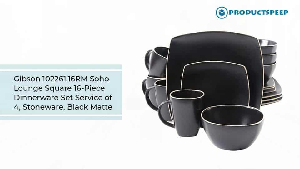 Best dinner sets - Gibson Soho Lounge Square 16-Piece Dinnerware Set, Stoneware and Black Matte